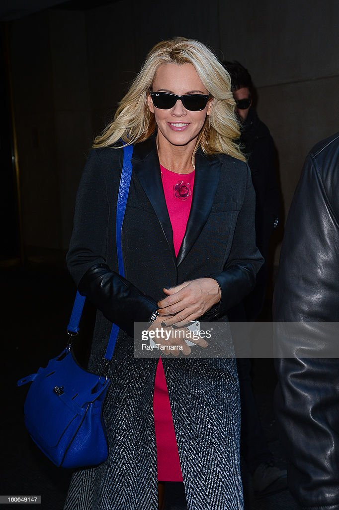 Actress Jenny McCarthy leaves the 'Today Show' taping at the NBC Rockefeller Center Studios on February 4, 2013 in New York City.