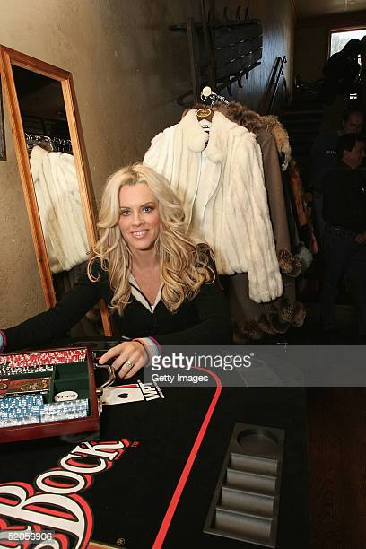 Actress Jenny McCarthy visits the Michelob Amber Bock World Poker Tour display at the Gibson Gift Lounge during the 2005 Sundance Film Festival on...