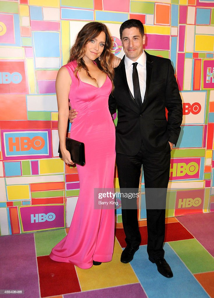 Actress Jenny Mollen and actor Jason Biggs attend HBO's 2014 Emmy after party at The Plaza at the Pacific Design Center on August 25, 2014 in Los Angeles, California.
