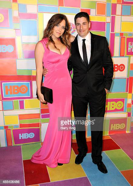 Actress Jenny Mollen and actor Jason Biggs attend HBO's 2014 Emmy after party at The Plaza at the Pacific Design Center on August 25 2014 in Los...