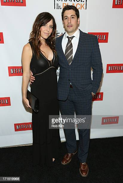 Actress Jenny Mollen and Actor Jason Biggs attend 'Orange Is The New Black' New York Premiere at The New York Botanical Garden on June 25 2013 in New...