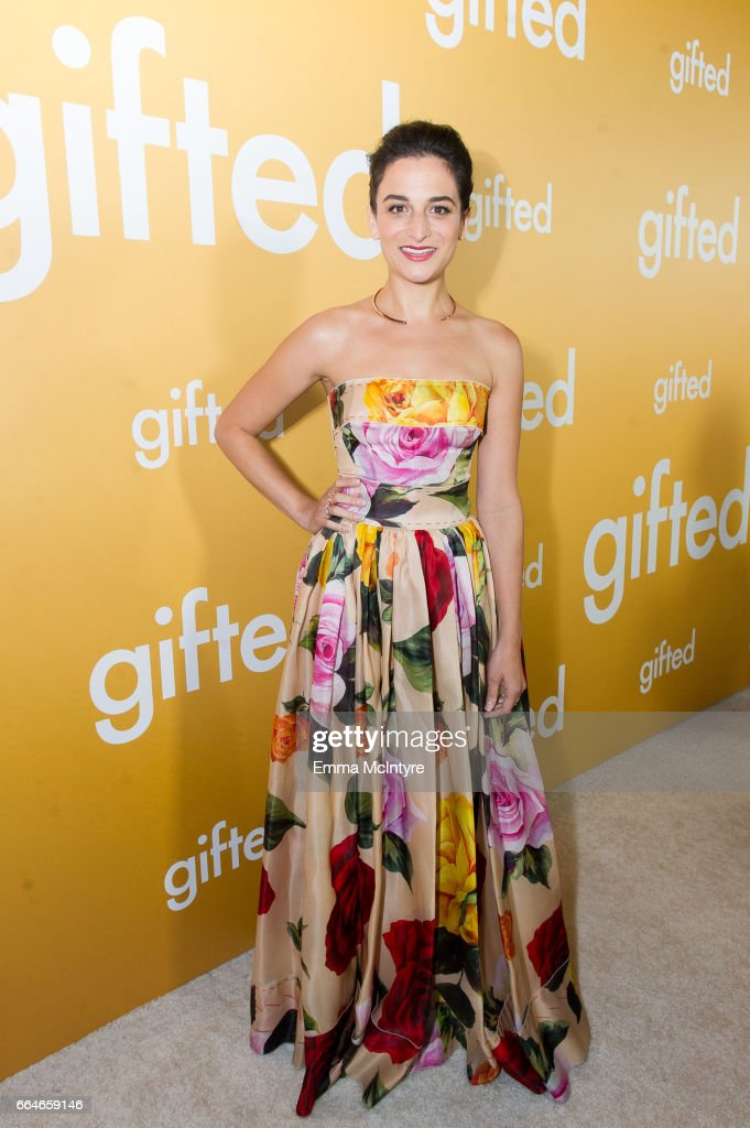 Actress Jenny Slate arrives at the premiere of Fox Searchlight Pictures' 'Gifted' at Pacific Theaters at the Grove on April 4, 2017 in Los Angeles, California.