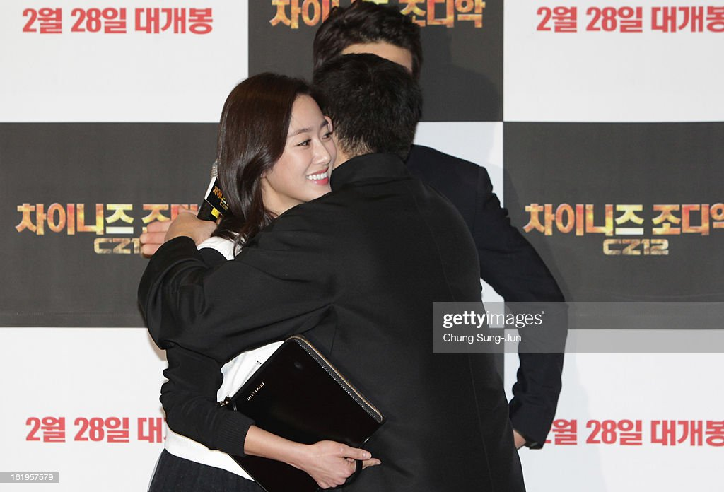 Actress Jeon Hye-bin hugs Jackie Chan during the 'Chinese Zodiac' Seoul Premiere at Lotte Cinema on February 18, 2013 in Seoul, South Korea. Jackie Chan is visiting South Korea to promote his recent film 'Chinese Zodiac' which will be released in South Korea on February 28.