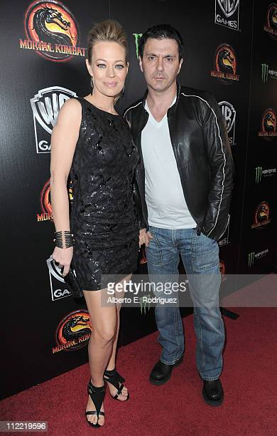 Actress Jeri Ryan and husband chef Christophe Eme arrive to the unleashing of Warner Bros' 'Mortal Kombat Legacy' at Saint Felix II on April 14 2011...