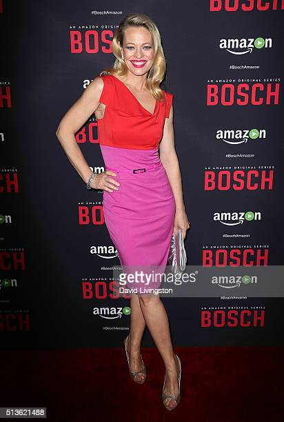 Actress Jeri Ryan attends the premiere of Amazon's 'Bosch' Season 2 at SilverScreen Theater at the Pacific Design Center on March 3 2016 in West...