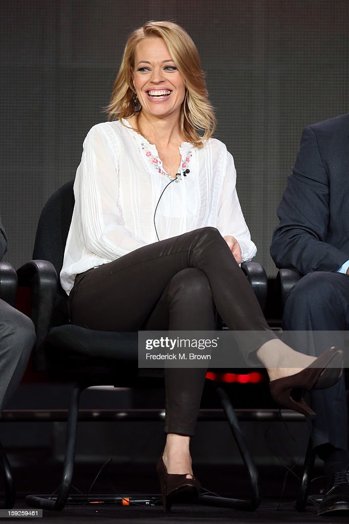 Actress <a gi-track='captionPersonalityLinkClicked' href=/galleries/search?phrase=Jeri+Ryan&family=editorial&specificpeople=239502 ng-click='$event.stopPropagation()'>Jeri Ryan</a> of 'Body of Proof' speaks onstage during the ABC portion of the 2013 Winter TCA Tour at Langham Hotel on January 10, 2013 in Pasadena, California.