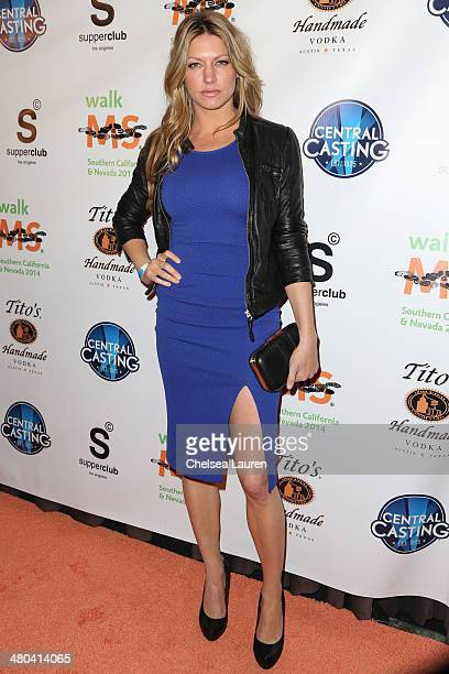 Actress Jes Macallan arrives at the LA celebrity MS Walk kickoff event at SupperClub Los Angeles on March 24 2014 in Los Angeles California