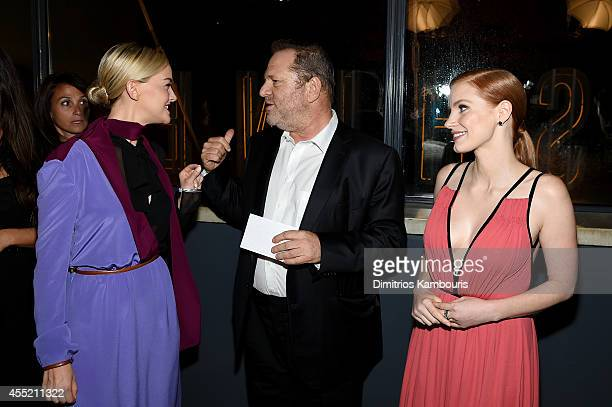 Actress Jess Weixler film producer Harvey Weinstein and actress Jessica Chastain attend the Prada and The Cinema Society screening of The Weinstein...