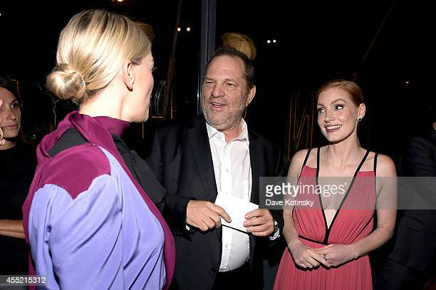 Actress Jess Weixler film producer Harvey Weinstein and actress Jessica Chastain attend the screening of The Weinstein Company's 'The Disappearance...