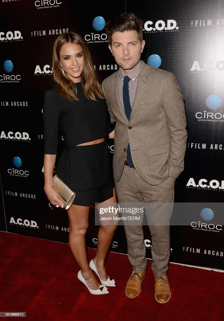 Actress <a gi-track='captionPersonalityLinkClicked' href=/galleries/search?phrase=Jessica+Alba&family=editorial&specificpeople=201811 ng-click='$event.stopPropagation()'>Jessica Alba</a> (L) and actor Adam Scott attend the premiere of The Film Arcade's 'A.C.O.D.' at the Landmark Theater on September 26, 2013 in Los Angeles, California.