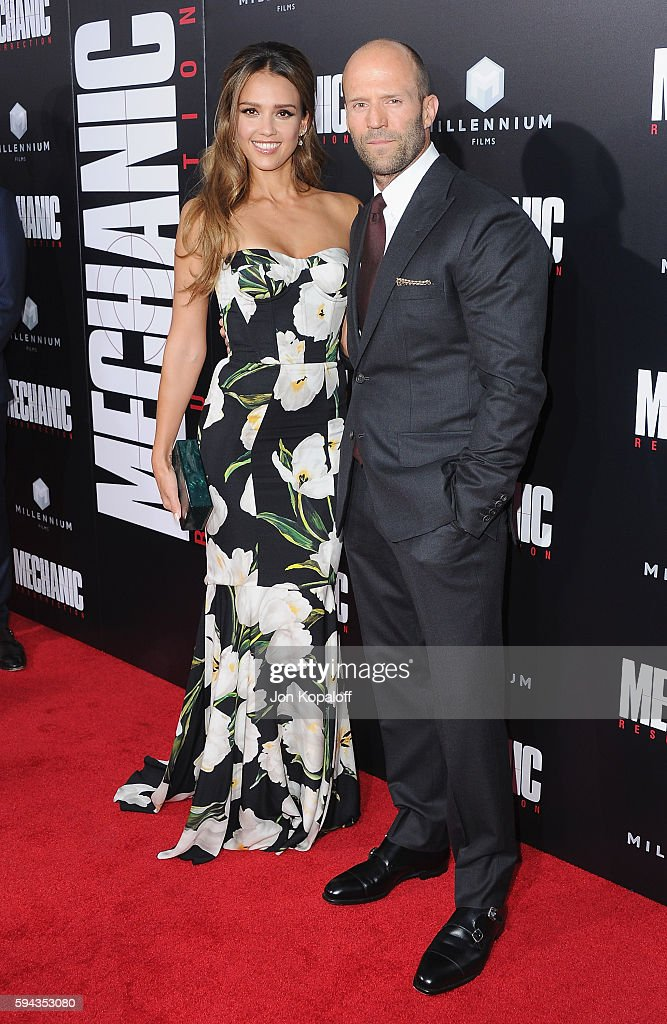 Actress Jessica Alba and actor Jason Statham arrive at the Los Angeles Premiere 'Mechanic Resurrection' at ArcLight Hollywood on August 22 2016 in...