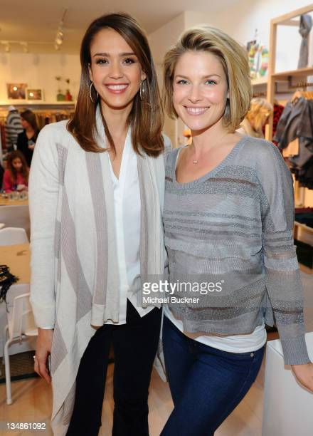 Actress Jessica Alba and actress Ali Larter attend the Splendid Store Opening with Crafting Community and Baby2Baby at the Splendid Store on December...