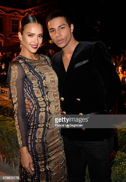 Actress Jessica Alba and Balmain Creative Director Olivier Rousteing attend the Tory Burch Paris Flagship store opening after party at on July 7 2015...