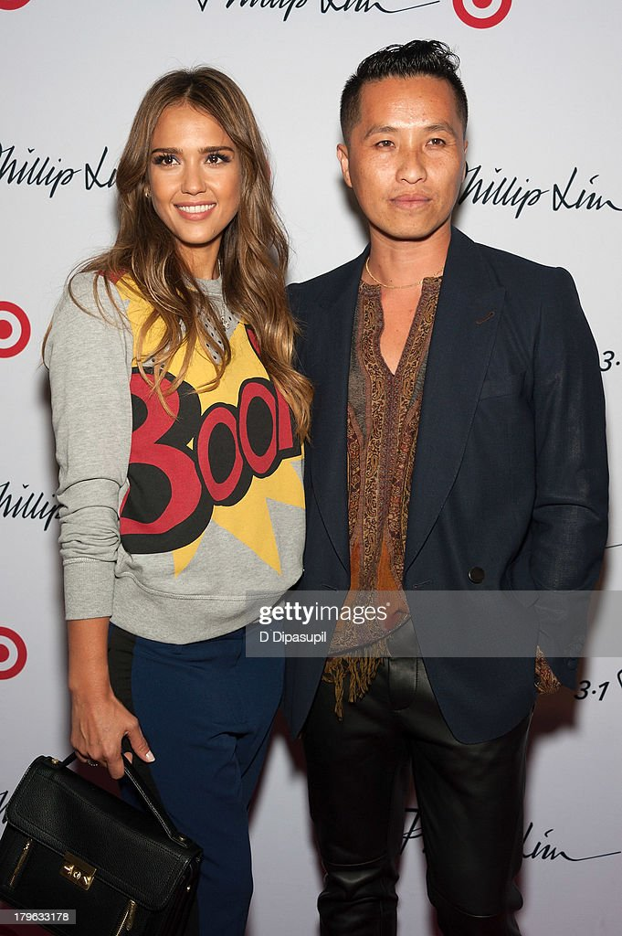 Actress <a gi-track='captionPersonalityLinkClicked' href=/galleries/search?phrase=Jessica+Alba&family=editorial&specificpeople=201811 ng-click='$event.stopPropagation()'>Jessica Alba</a> (L) and designer Phillip Lim attend the 3.1 Phillip Lim for Target Launch Event at Spring Studio on September 5, 2013 in New York City.