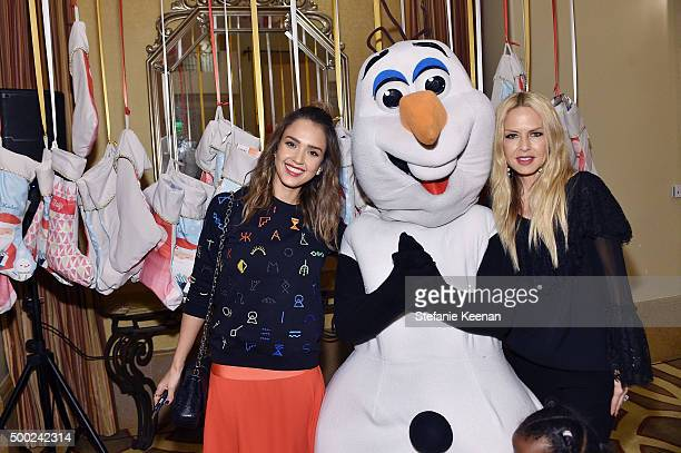 Actress Jessica Alba and designer Rachel Zoe attend the Baby2Baby Holiday Party Presented By Tiny Prints At Montage Beverly Hills on December 6 2015...