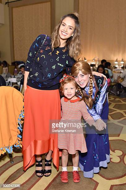 Actress Jessica Alba and Haven Garner Warren attend the Baby2Baby Holiday Party Presented By Tiny Prints At Montage Beverly Hills on December 6 2015...