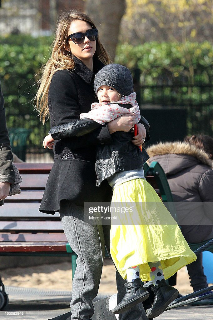 Actress <a gi-track='captionPersonalityLinkClicked' href=/galleries/search?phrase=Jessica+Alba&family=editorial&specificpeople=201811 ng-click='$event.stopPropagation()'>Jessica Alba</a> and her daughter <a gi-track='captionPersonalityLinkClicked' href=/galleries/search?phrase=Honor+Warren&family=editorial&specificpeople=5597892 ng-click='$event.stopPropagation()'>Honor Warren</a> are sighted in the 'Luxembourg' gardens on March 4, 2013 in Paris, France.