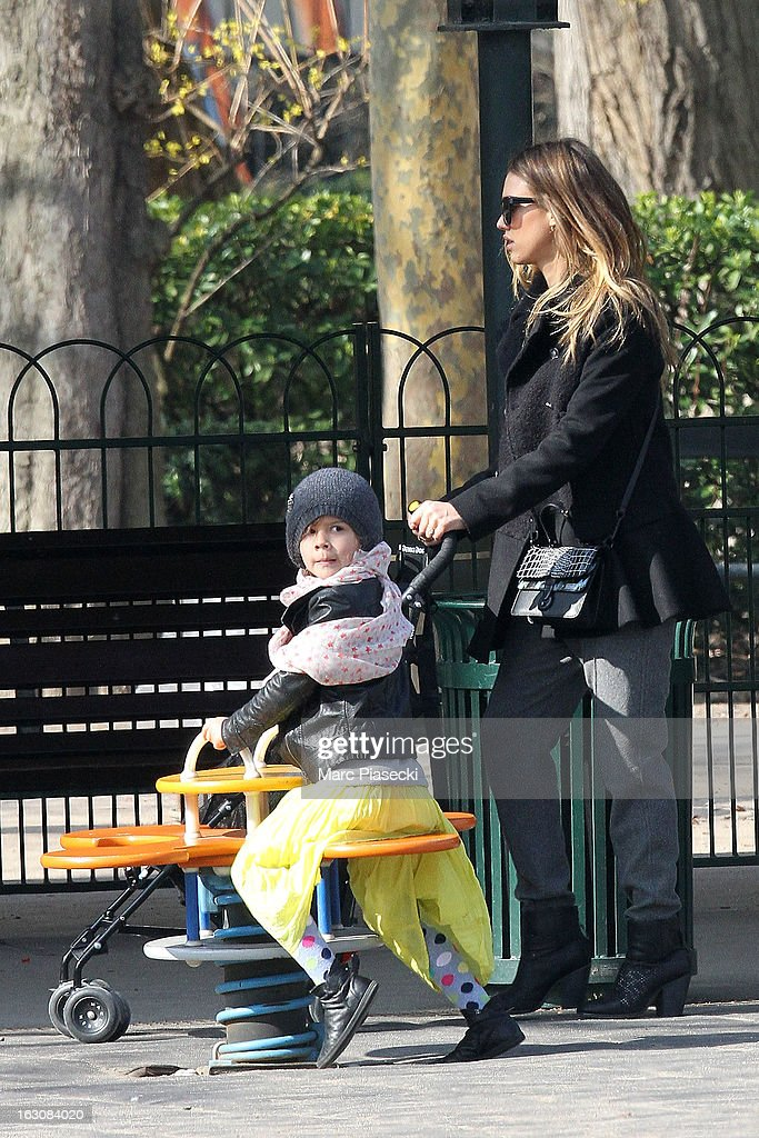 Actress Jessica Alba and her daughter Honor Warren are sighted in the 'Luxembourg' gardens on March 4, 2013 in Paris, France.
