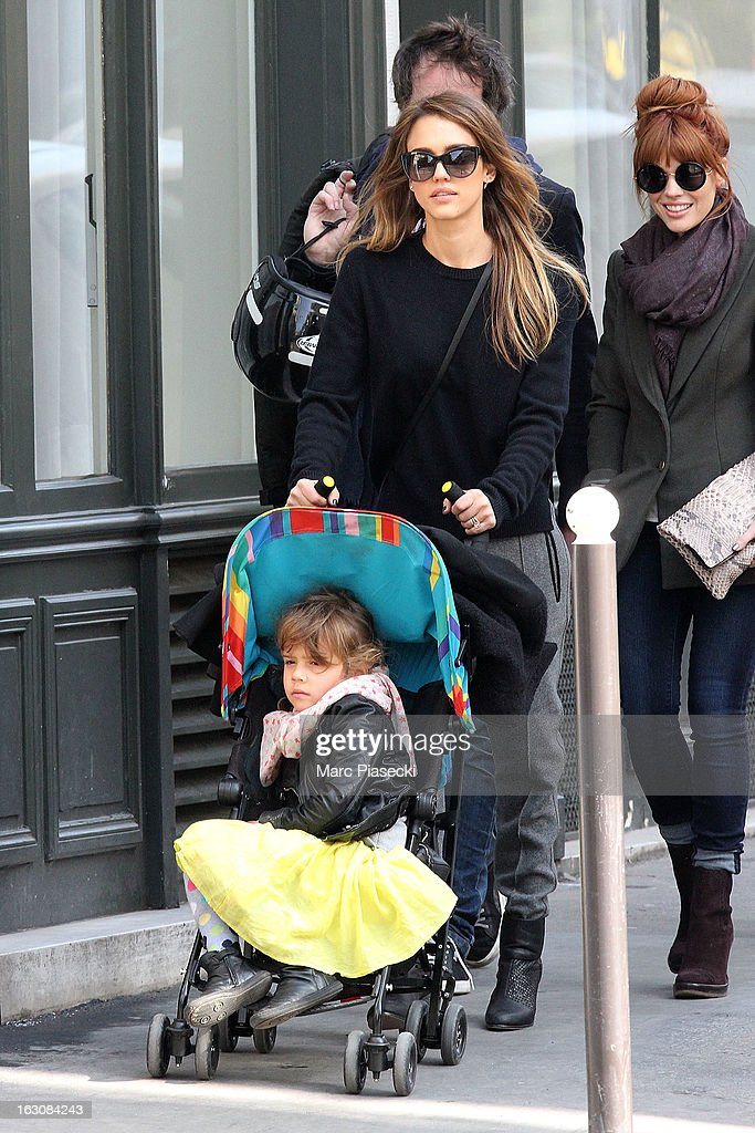 Actress <a gi-track='captionPersonalityLinkClicked' href=/galleries/search?phrase=Jessica+Alba&family=editorial&specificpeople=201811 ng-click='$event.stopPropagation()'>Jessica Alba</a> and her daughter <a gi-track='captionPersonalityLinkClicked' href=/galleries/search?phrase=Honor+Warren&family=editorial&specificpeople=5597892 ng-click='$event.stopPropagation()'>Honor Warren</a> are sighted in the 'Saint-Germain-des-Pres' area on March 4, 2013 in Paris, France.