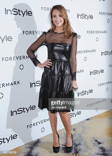 Actress Jessica Alba arrives at Forevermark And InStyle Golden Globes Event 'A Promise Of Beauty And Brilliance' at the Beverly Hills Hotel on...