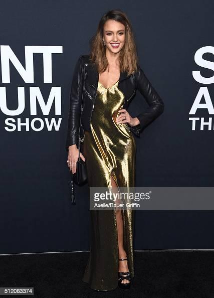 Actress Jessica Alba arrives at SAINT LAURENT At The Palladium at Hollywood Palladium on February 10 2016 in Los Angeles California