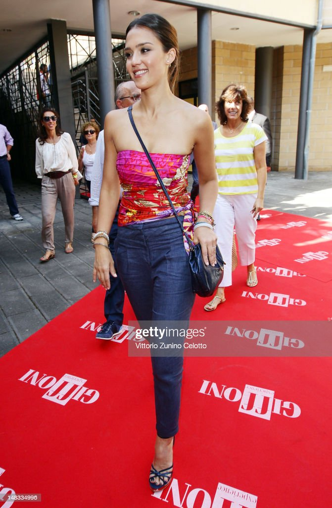 Actress <a gi-track='captionPersonalityLinkClicked' href=/galleries/search?phrase=Jessica+Alba&family=editorial&specificpeople=201811 ng-click='$event.stopPropagation()'>Jessica Alba</a> arrives at the 2012 Giffoni Film Festival press conference on July 14, 2012 in Giffoni Valle Piana, Italy.