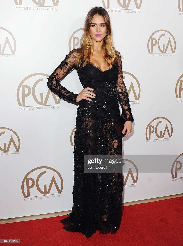 Actress <a gi-track='captionPersonalityLinkClicked' href=/galleries/search?phrase=Jessica+Alba&family=editorial&specificpeople=201811 ng-click='$event.stopPropagation()'>Jessica Alba</a> arrives at the 24th Annual Producers Guild Awards at The Beverly Hilton Hotel on January 26, 2013 in Beverly Hills, California.