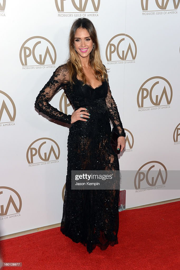 Actress Jessica Alba arrives at the 24th Annual Producers Guild Awards held at The Beverly Hilton Hotel on January 26, 2013 in Beverly Hills, California.