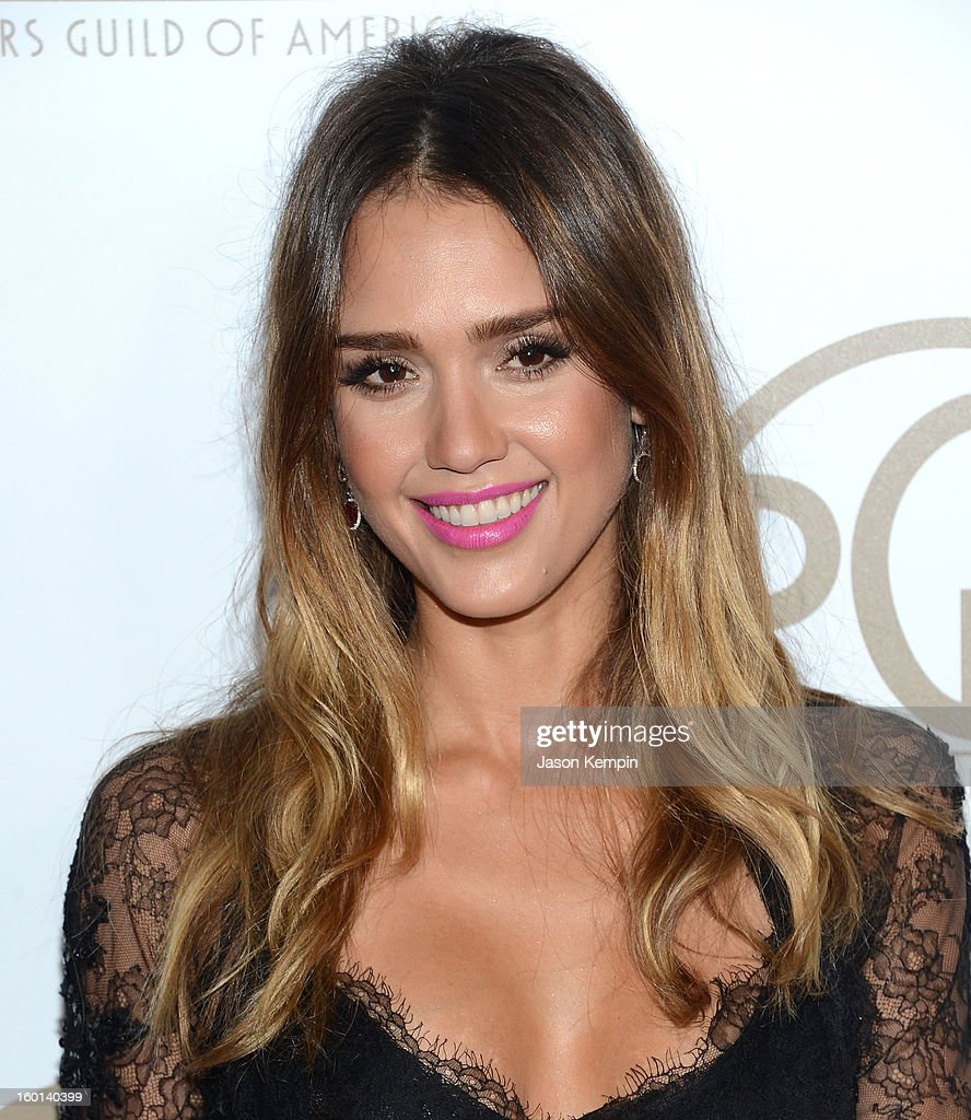 Actress <a gi-track='captionPersonalityLinkClicked' href=/galleries/search?phrase=Jessica+Alba&family=editorial&specificpeople=201811 ng-click='$event.stopPropagation()'>Jessica Alba</a> arrives at the 24th Annual Producers Guild Awards held at The Beverly Hilton Hotel on January 26, 2013 in Beverly Hills, California.