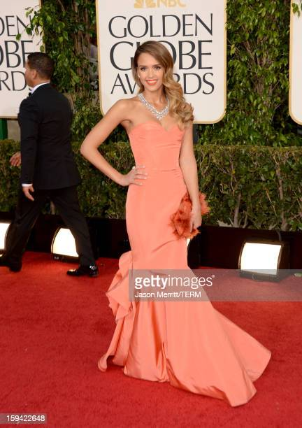 Actress Jessica Alba arrives at the 70th Annual Golden Globe Awards held at The Beverly Hilton Hotel on January 13 2013 in Beverly Hills California