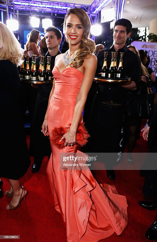 Actress <a gi-track='captionPersonalityLinkClicked' href=/galleries/search?phrase=Jessica+Alba&family=editorial&specificpeople=201811 ng-click='$event.stopPropagation()'>Jessica Alba</a> arrives at the 70th Annual Golden Globe Awards held at The Beverly Hilton Hotel on January 13, 2013 in Beverly Hills, California.