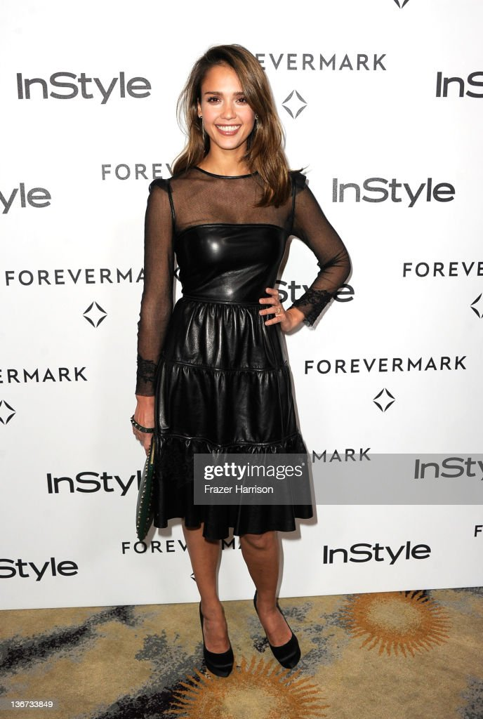 Actress <a gi-track='captionPersonalityLinkClicked' href=/galleries/search?phrase=Jessica+Alba&family=editorial&specificpeople=201811 ng-click='$event.stopPropagation()'>Jessica Alba</a> arrives at the Forevermark And InStyle's 'A Promise Of Beauty And Brilliance' Golden Globe Awards Event at Beverly Hills Hotel on January 10, 2012 in Beverly Hills, California.