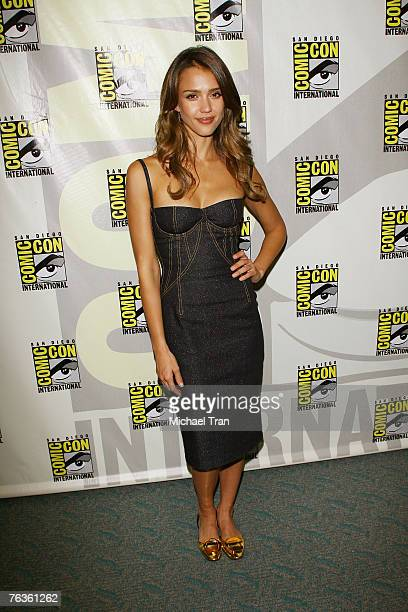 Actress Jessica Alba arrives at the Lionsgate Pressline at ComicCon at the San Diego Convention Center on July 26 2007 in San Diego California