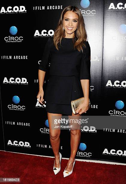 Actress Jessica Alba arrives at the Los Angeles Premiere 'ACOD' at the Landmark Theater on September 26 2013 in Los Angeles California