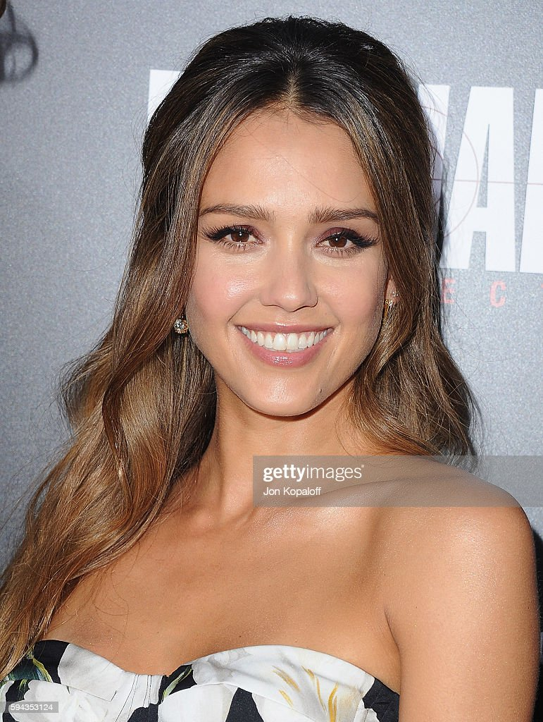 Actress Jessica Alba arrives at the Los Angeles Premiere 'Mechanic Resurrection' at ArcLight Hollywood on August 22 2016 in Hollywood California