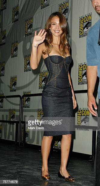 Actress Jessica Alba arrives at the press panel during the 2007 ComicCon held at the San Diego Convention Center on July 26 2007 in San Diego...