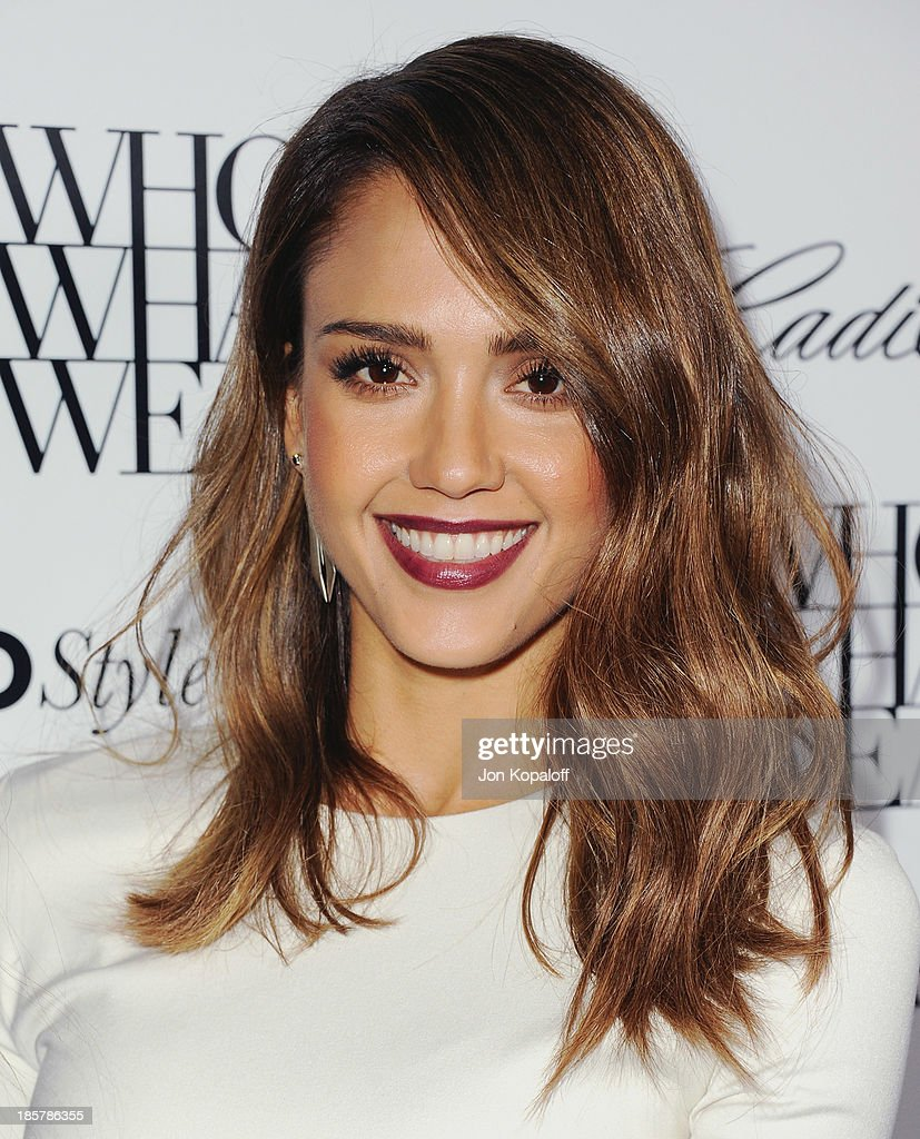 Actress <a gi-track='captionPersonalityLinkClicked' href=/galleries/search?phrase=Jessica+Alba&family=editorial&specificpeople=201811 ng-click='$event.stopPropagation()'>Jessica Alba</a> arrives at Who What Wear And Cadillac's 50 Most Fashionable Women Of 2013 at The London Hotel on October 24, 2013 in West Hollywood, California.