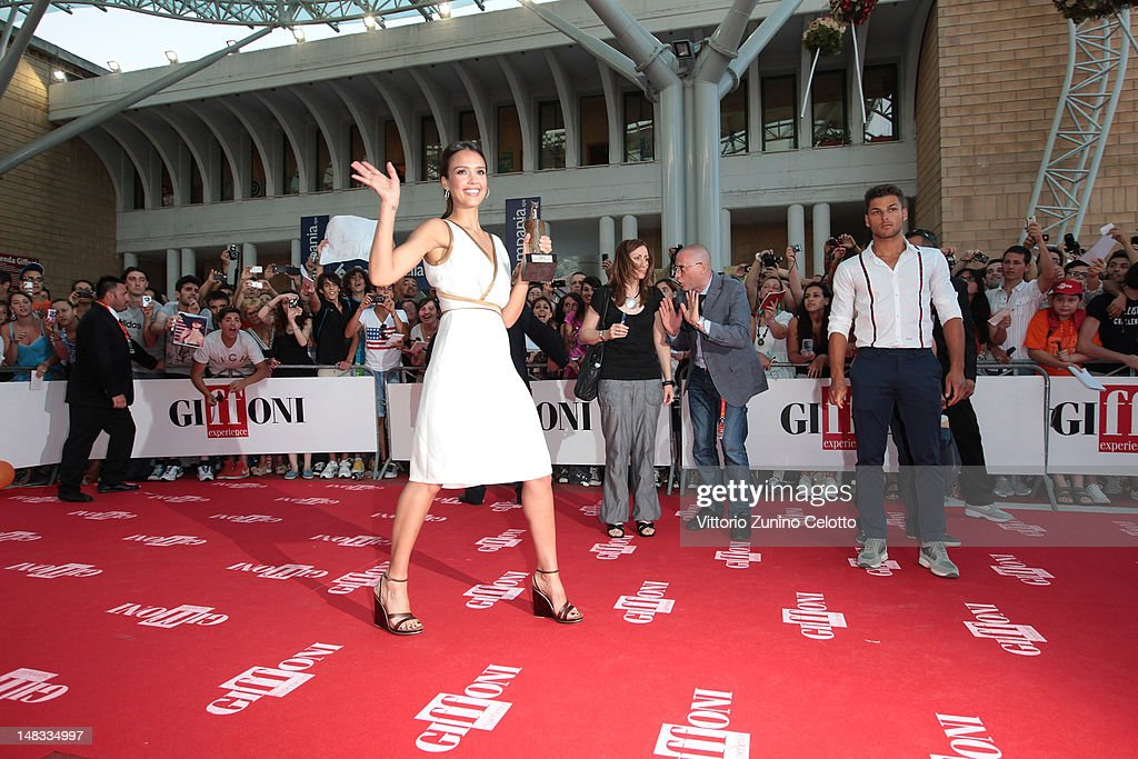 Actress <a gi-track='captionPersonalityLinkClicked' href=/galleries/search?phrase=Jessica+Alba&family=editorial&specificpeople=201811 ng-click='$event.stopPropagation()'>Jessica Alba</a> attends 2012 Giffoni Film Festival red carpet on July 14, 2012 in Giffoni Valle Piana, Italy.