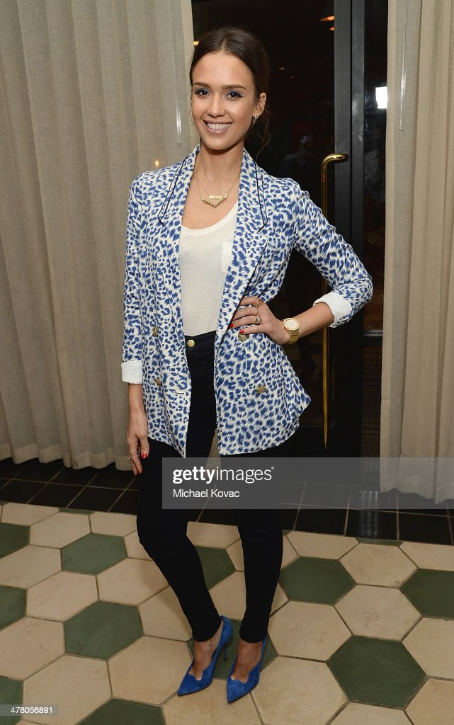 Actress <a gi-track='captionPersonalityLinkClicked' href=/galleries/search?phrase=Jessica+Alba&family=editorial&specificpeople=201811 ng-click='$event.stopPropagation()'>Jessica Alba</a> attends Anthropologie Celebrates A Denim Story by Emily Current, Meritt Elliott and Hilary Walsh at PaliHotel on March 11, 2014 in Los Angeles, California.