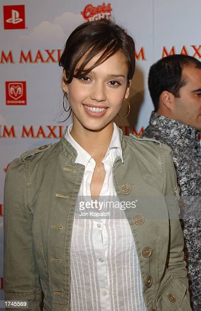 Actress Jessica Alba attends 'Maxim Magazine Heats Up Superbowl In Maximville USA' at the Old Wonderbread Factory on January 25 2003 in San Diego...