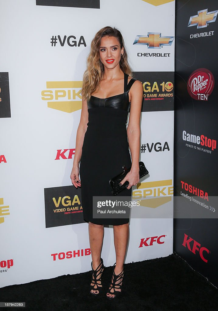 Actress <a gi-track='captionPersonalityLinkClicked' href=/galleries/search?phrase=Jessica+Alba&family=editorial&specificpeople=201811 ng-click='$event.stopPropagation()'>Jessica Alba</a> attends Spike TV's 10th Annual Video Game Awards at Sony Pictures Studios on December 7, 2012 in Culver City, California.