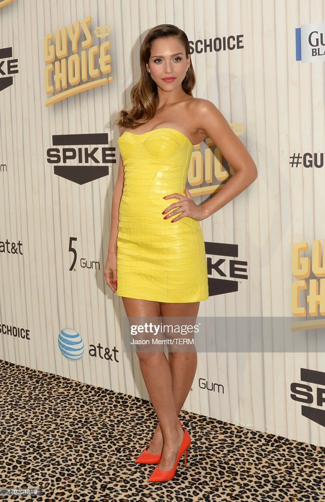 Actress <a gi-track='captionPersonalityLinkClicked' href=/galleries/search?phrase=Jessica+Alba&family=editorial&specificpeople=201811 ng-click='$event.stopPropagation()'>Jessica Alba</a> attends Spike TV's Guys Choice 2013 at Sony Pictures Studios on June 8, 2013 in Culver City, California.