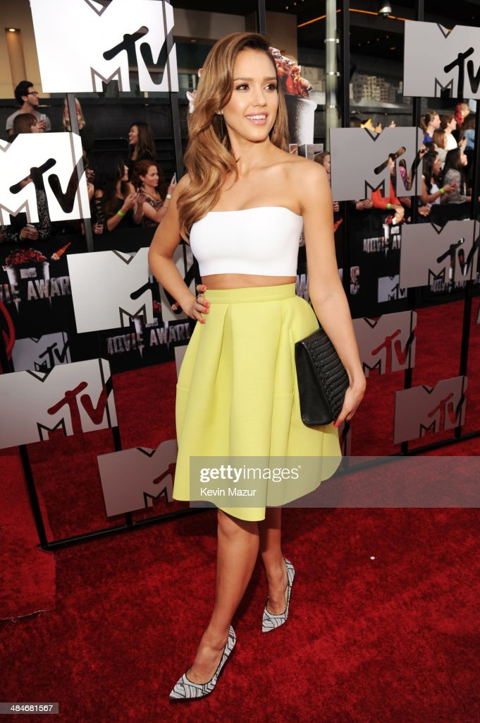 Actress <a gi-track='captionPersonalityLinkClicked' href=/galleries/search?phrase=Jessica+Alba&family=editorial&specificpeople=201811 ng-click='$event.stopPropagation()'>Jessica Alba</a> attends the 2014 MTV Movie Awards at Nokia Theatre L.A. Live on April 13, 2014 in Los Angeles, California.