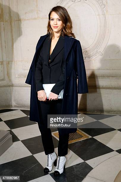 Actress Jessica Alba attends the Christian Dior show as part of the Paris Fashion Week Womenswear Fall/Winter 20142015 on February 28 2014 in Paris...
