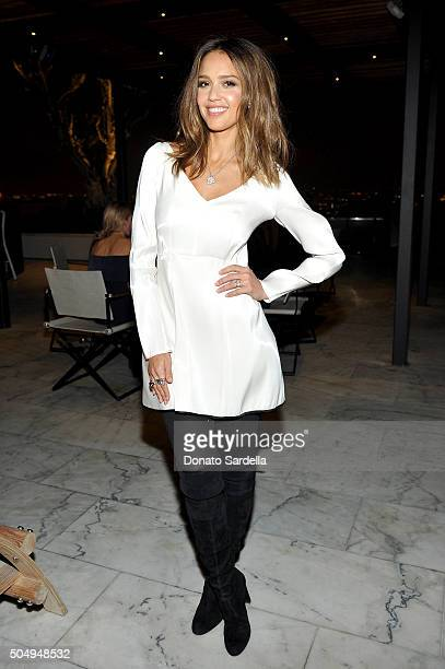 Actress Jessica Alba attends the Galvan For Opening Ceremony Dinner Hosted By Swarovski at Private Residence on January 13 2016 in Los Angeles...