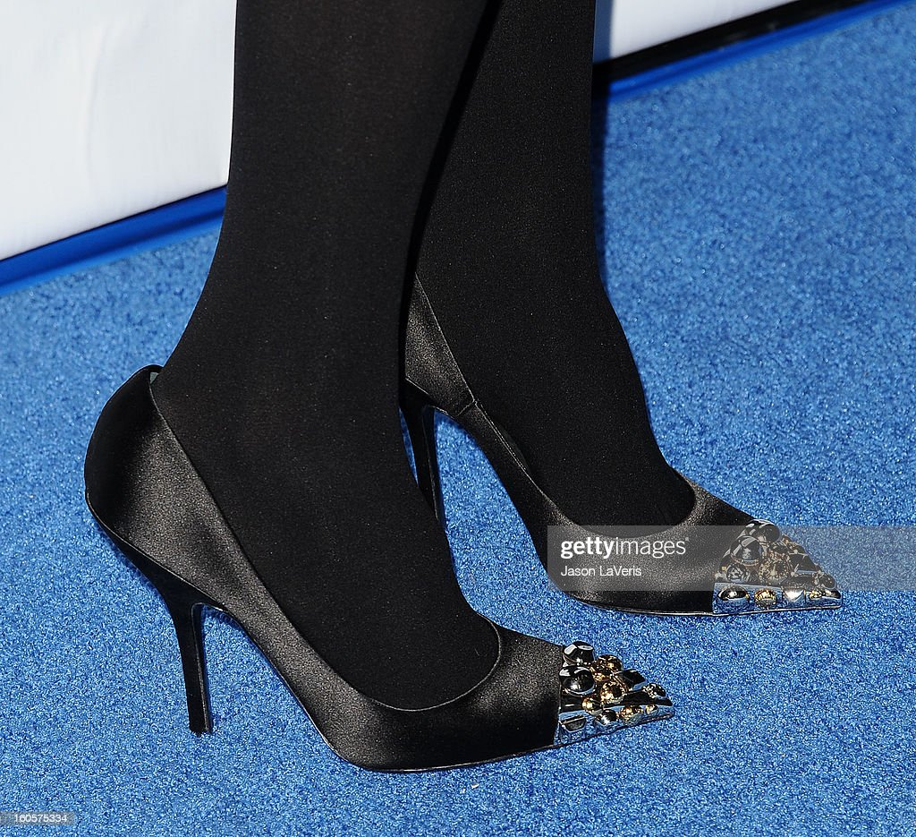 Actress Jessica Alba (shoe detail) attends the premiere of 'Escape From Planet Earth' at Mann Chinese 6 on February 2, 2013 in Los Angeles, California.