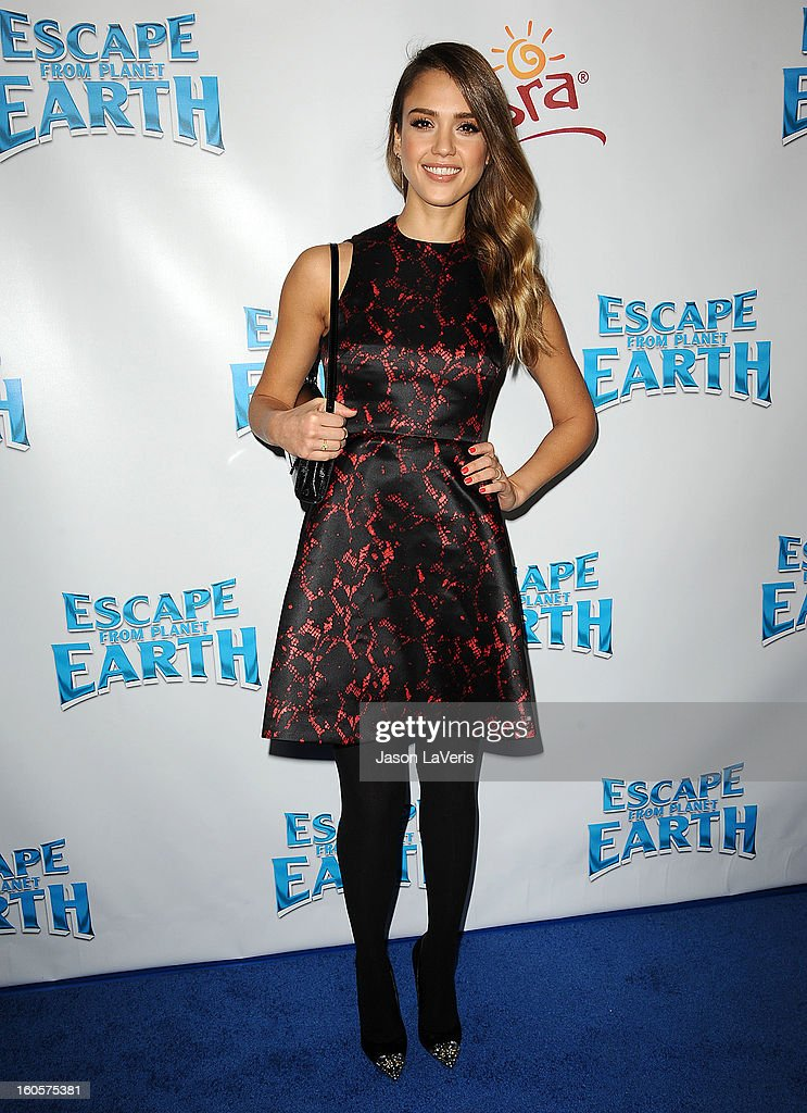 Actress <a gi-track='captionPersonalityLinkClicked' href=/galleries/search?phrase=Jessica+Alba&family=editorial&specificpeople=201811 ng-click='$event.stopPropagation()'>Jessica Alba</a> attends the premiere of 'Escape From Planet Earth' at Mann Chinese 6 on February 2, 2013 in Los Angeles, California.