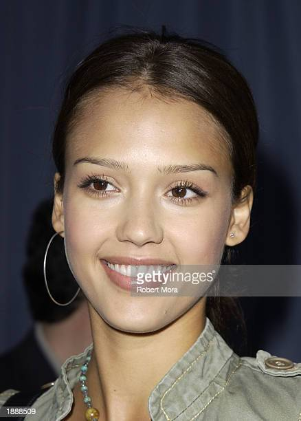 Actress Jessica Alba attends the premiere of 'Ghosts of the Abyss' at the Universal City Walk Imax Theatre on March 31 2003 in Los Angeles California...