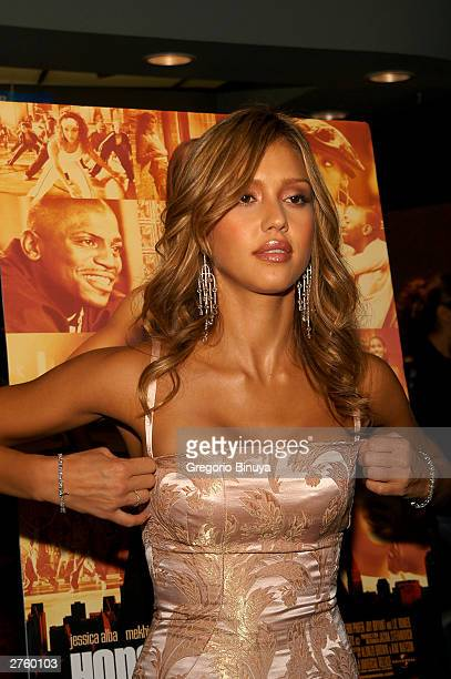 Actress Jessica Alba attends the premiere of Honey November 24 2003 at the Chelsea West Theater New York
