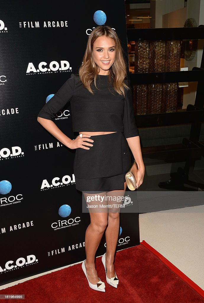 Actress <a gi-track='captionPersonalityLinkClicked' href=/galleries/search?phrase=Jessica+Alba&family=editorial&specificpeople=201811 ng-click='$event.stopPropagation()'>Jessica Alba</a> attends the premiere of The Film Arcade's 'A.C.O.D.' at the Landmark Theater on September 26, 2013 in Los Angeles, California.